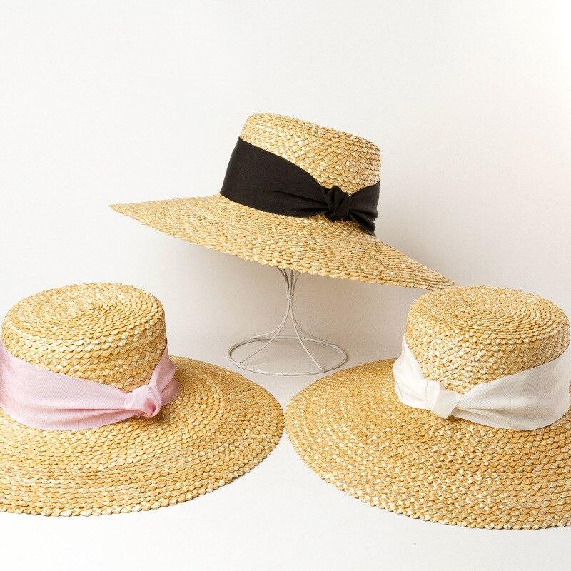 spring summer new popular wave pattern woven straw sun hats for women big brim beach hats with fashion handmade ribbon