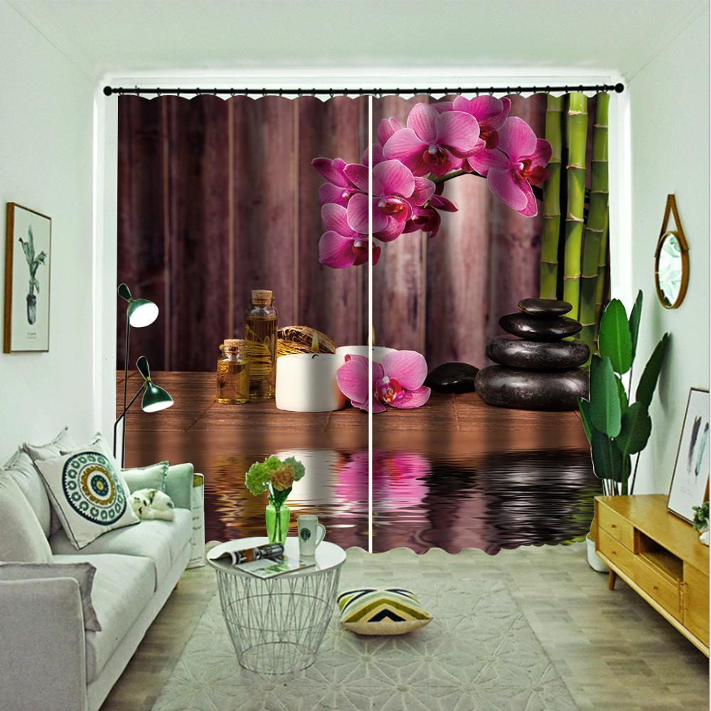 Cortinas 3D, Cortinas de flores de bambú para sala de estar, dormitorio, modernas Cortinas de ventana a la moda, Cortinas de ladrillo para puerta
