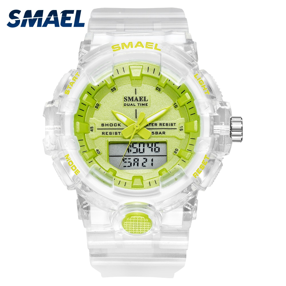 SMAEL New Men Watch Luxury Transparent Strap Digital Quartz Watches Double Time Waterproof Sport Chronograph Reloj Hombre enlarge