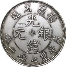 China 1897 Sinkiang 7 Keule 2 Candareens Pldted Silber Kopie Münze