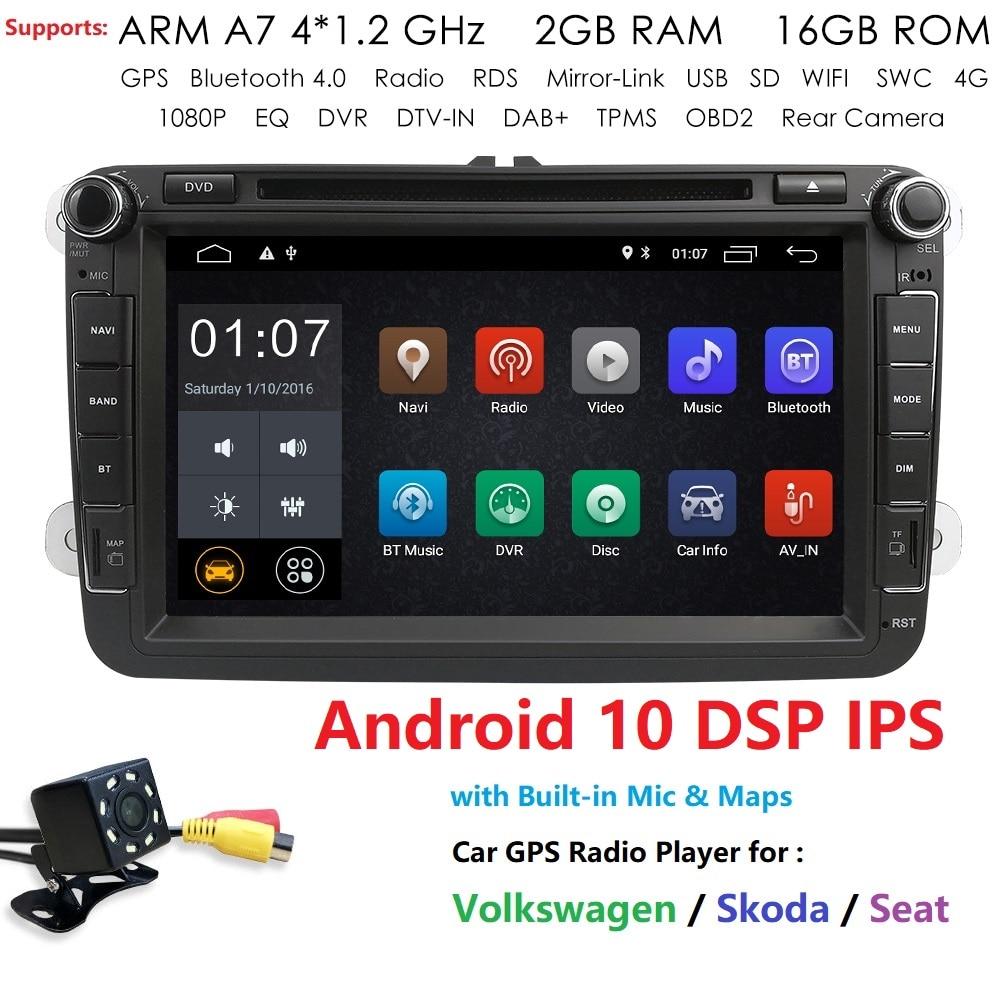 2Din Android 10 автомобильный dvd-плеер для VW/Volkswagen/POLO/PASSAT/Golf/Skoda/Octavia/Seat 2GRAM 4GWIFI GPS навигация радио DAB DVBT
