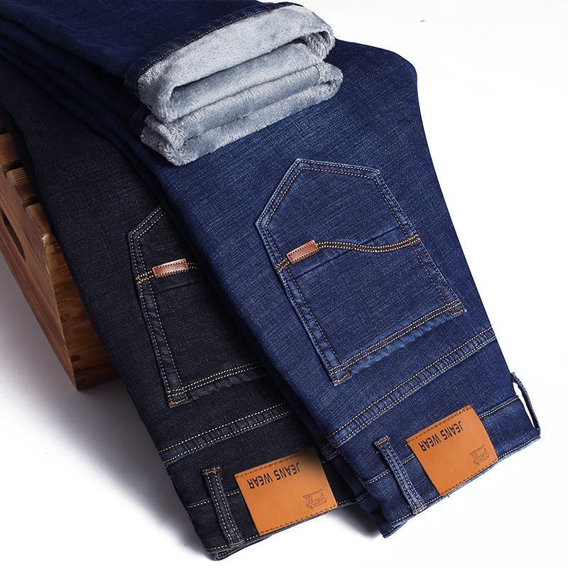 Мужские джинсы с флисовой подкладкой, синие теплые мягкие джинсы с флисовой подкладкой, Осень-зима 2021