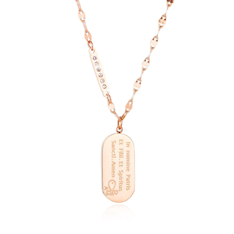 Collar de acero de titanio con tachuelas de diamante fácil de combinar para mujer, accesorios para colgantes religiosos que combinan con todo