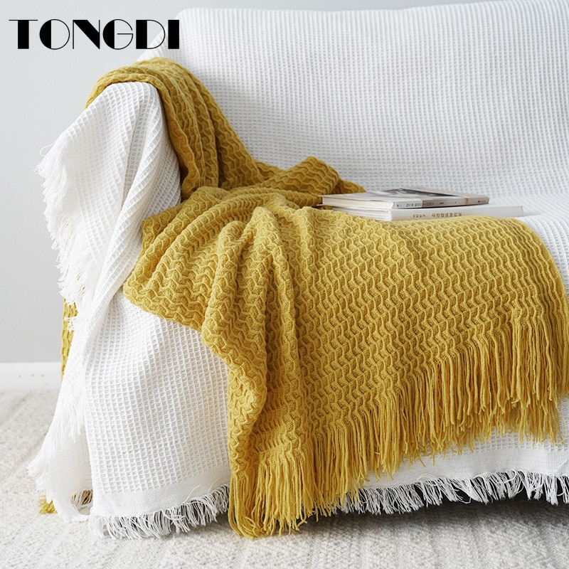 TONGDI-بطانية محبوكة من الصوف مع غرة ودانتيل ناعم ودافئ ، هدية جميلة ، ديكور فاخر للفتيات ، جميع الفصول ، صناعة يدوية