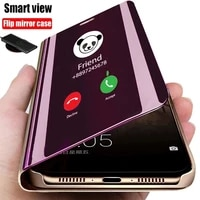 luxury anti fall smart flip phone case for oppo a93 f17 pro a53 a72 a92 f15 a91 a52 a31 a8 2020 mirror protective holder cover