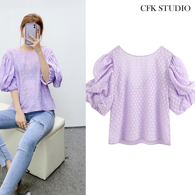 2020 Za New Women Blouse with Embroidery Short Sleeve Elegant T-Shirt Femme Summer Office Wear Chiffon Loose Purple T-shirt Top