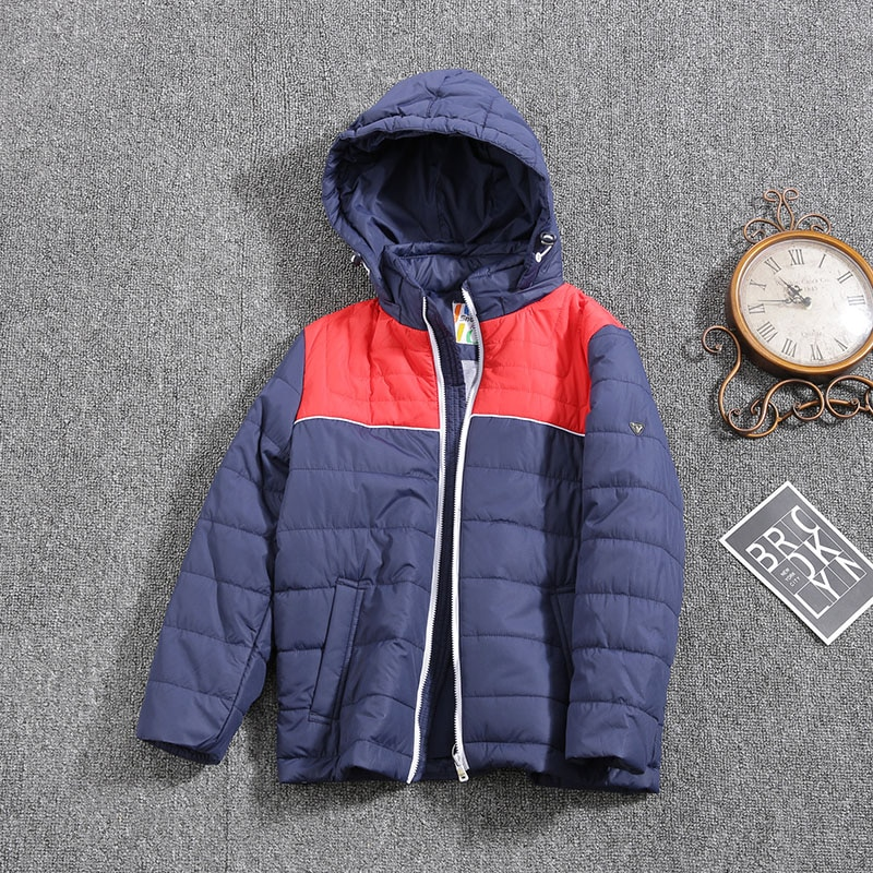 Jacket for boys 2021 Europe Russia Spring Autumn Thick Parker Coat Blue coats with a hood height 92-134CM 2A-8A G002