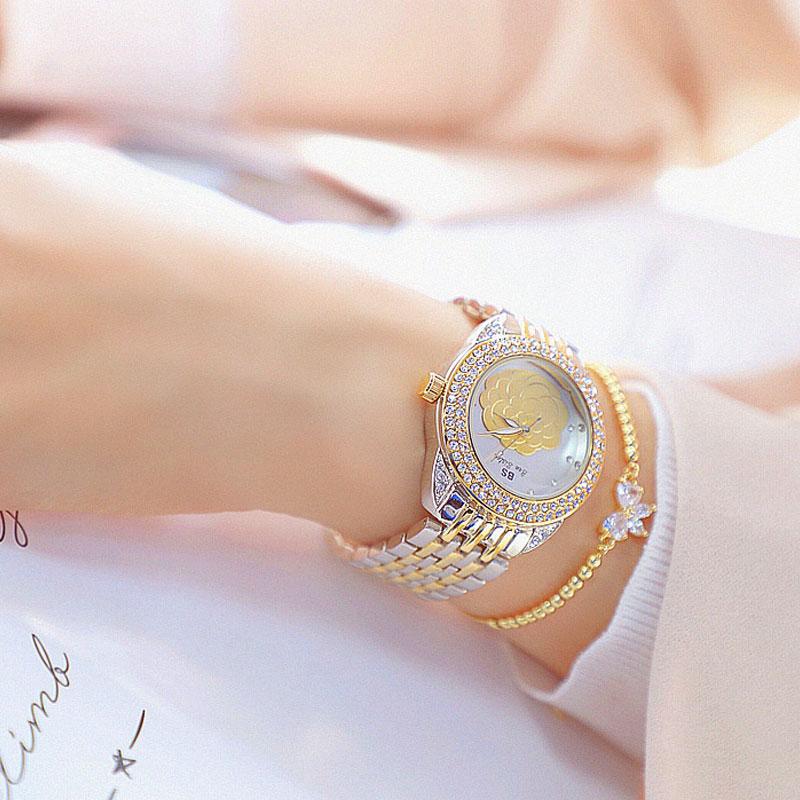 Luxury Brand BS Women's Watch Retro Rose Diamonds Women Quartz Watches Gold Silver Waterproof Clock Relogio Feminino 2020 enlarge