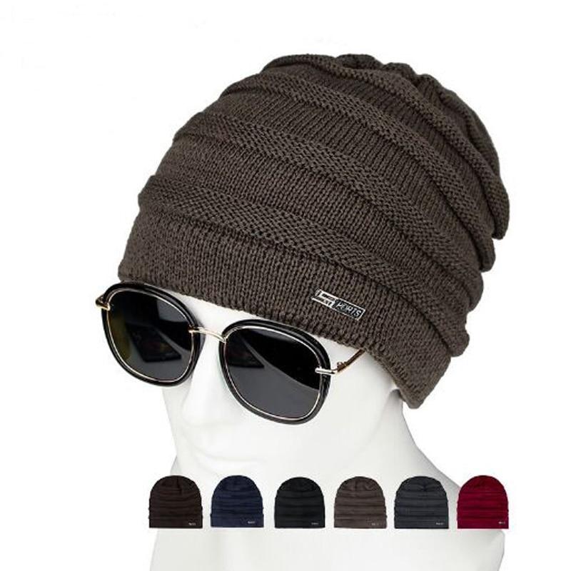 XEONGKVI Fashion Add Plush Knitted Cap Autumn Winter Brand Skullies Beanies Hats For Men Pompom