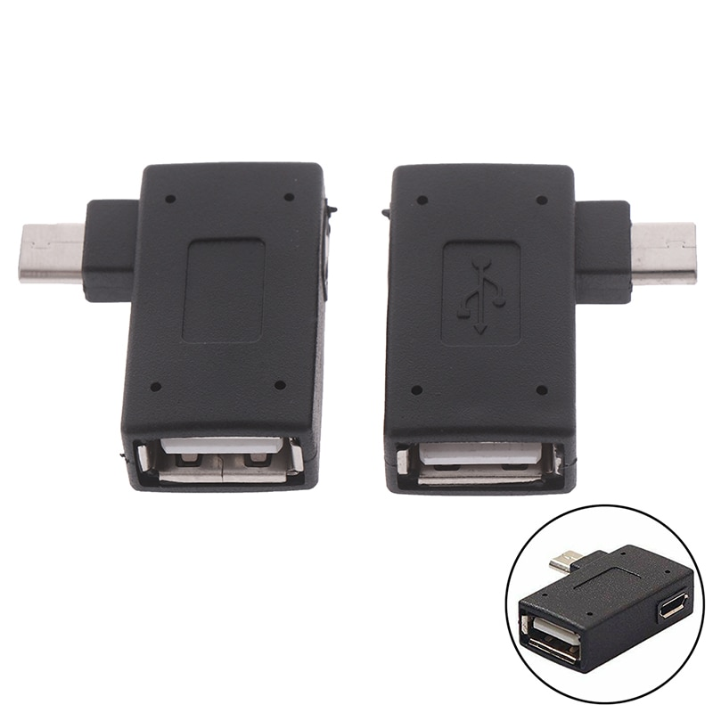 Адаптер Micro USB 2,0 «Мама-папа», порт питания Micro OTG, 90 градусов, прямоугольный адаптер USB OTG