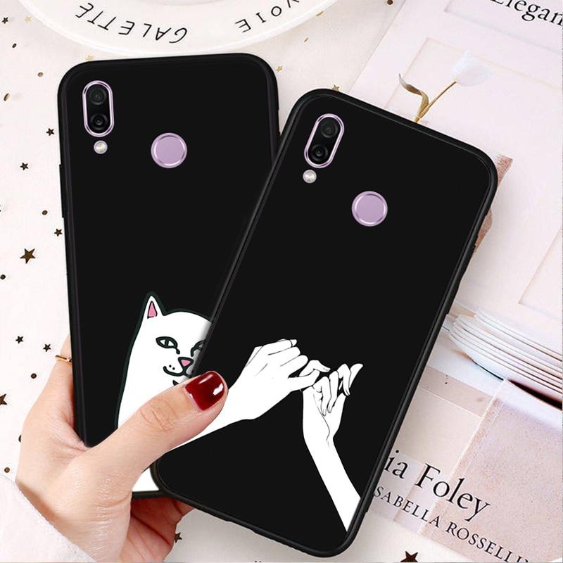 Luxury Black TPU Case For Huawei Honor 8X 8A 8C 8S 6C Pro Cute Cat Matte Case Cover Honor 7A Pro 7S 7X 7C Bumper Shell HonorPlay