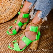 2020 femmes talons hauts sandales talon épais corde de chanvre grande taille 42 43 femmes en cuir verni plate-forme chaussures Rome chaussures croisées