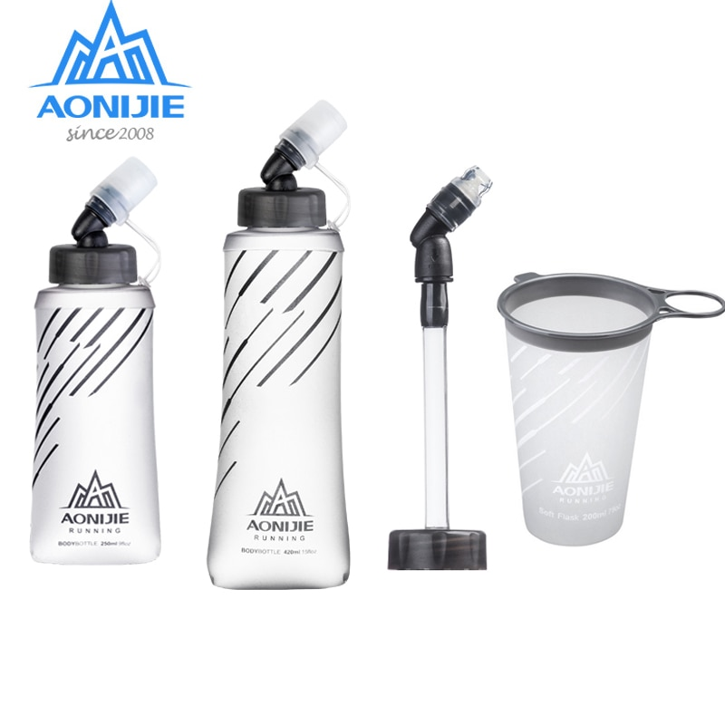 AONIJIE SD21 Frasco blando 250ml 420ml de agua plegable botella de agua de hidratación vejiga para corriendo maratón de ciclismo de pista de senderismo