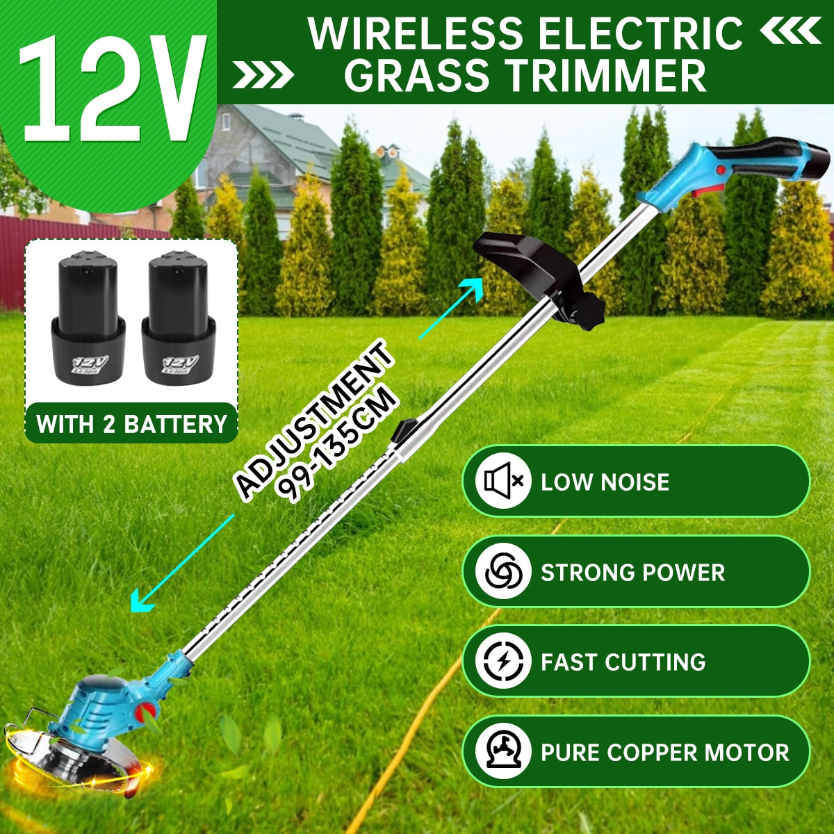 12V Electric Lawn Mower Cordless Grass Hedge Trimmer Adjustable Handheld Mowing Machine Garden Tools with 1/2pcs Li-Ion Battery