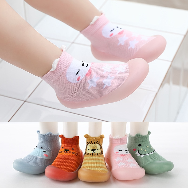 Unisex Baby Non-slip Sock Shoes Cartoon Animal Pattern Knitted Craft Upper Kids Shoes Soft Rubber So