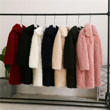 Mid-Length Fur Coat Female 2020 Winter Fashion New Large Lapel Long-Sleeved Thickened Circle Imitation Lamb Wool Warm Coat Tide