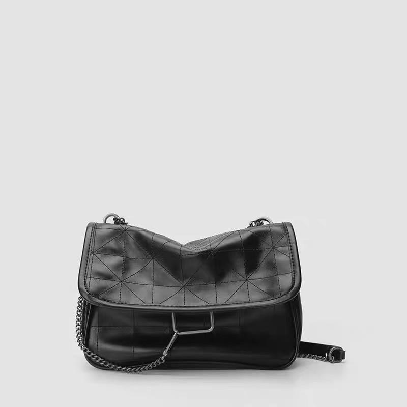 MASK New Rhombus Black Rock Soft Single Shoulder Oblique Span Chain Bag Luxury Handbags For Woman 2021 PU Leather Messenger Bag