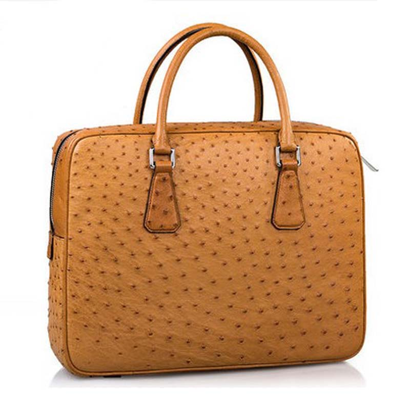 mengzhongmeng import Ostrich leather men handbag Ostrich leather fashion business bag custom South African ostrich skin men bag