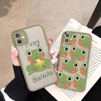 mint green funny the frog cute cartoon phone case for iphone 6s 7 6 8 plus se 2020 xr xs max x 11 12 pro max pc hard case couple