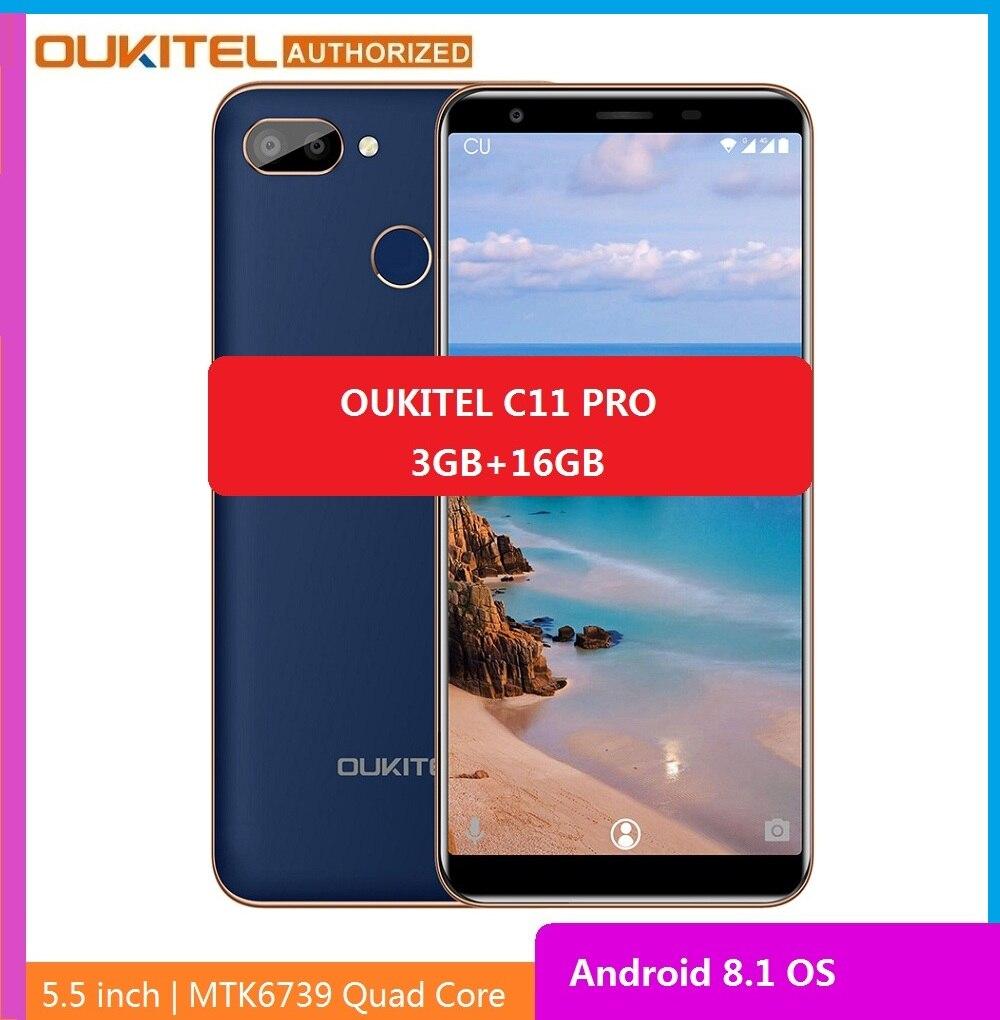 Перейти на Алиэкспресс и купить Смартфон OUKITEL C11 Pro 4G, экран 5,5 дюйма 18:9, на базе Android 8.1, четырёхъядерный, сотовые телефоны 3 ГБ ОЗУ 16 ГБ ПЗУ, мобильный телефон 3400 мАч