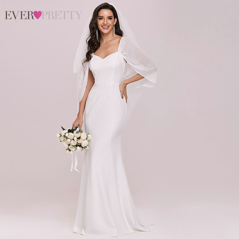 Mermaid Wedding Dresses For Women Ever Pretty chiffon V Neck Sleeveless backless Bridal Gowns Свадебное Платье 2021 EH00248