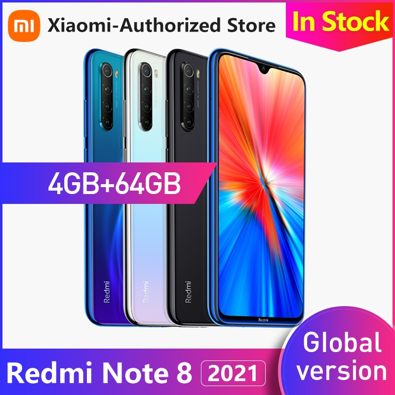 Перейти на Алиэкспресс и купить Глобальная версия Xiaomi Redmi Note 8, 4 Гб RAM, 64 ГБ ROM, смартфон, четыре ядра, быстрой зарядки 4000 мА/ч, 48MP камера 2021 Redmi Note8
