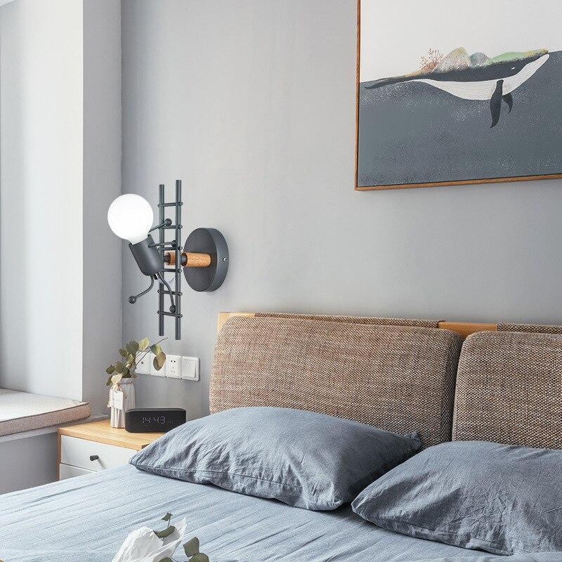 الكرتون مصباح غرفة المعيشة غرفة نوم الإبداعية خمر الحديد بسيط تسلق الدرج نمط الأطفال الجدار مصباح للمنزل غرفة نوم Led لمبة