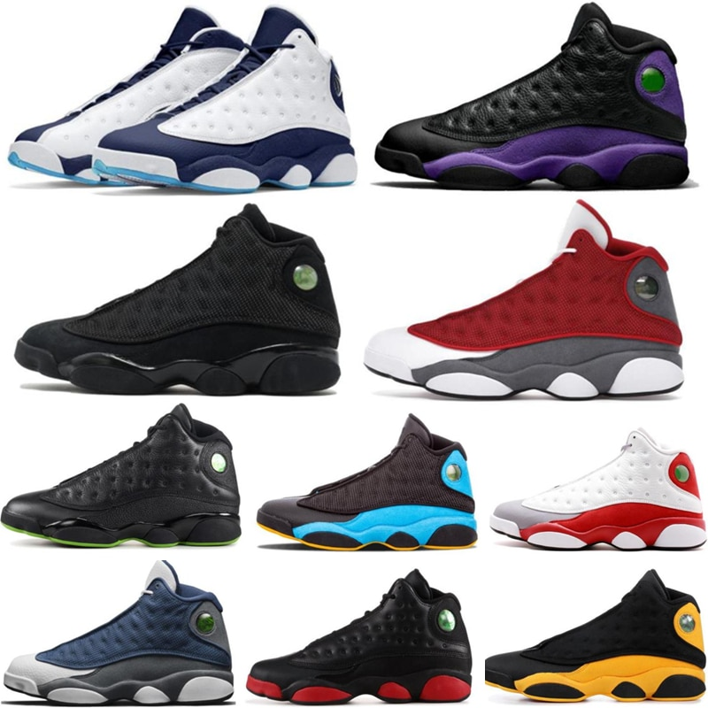 Men 13s Basketball Shoes 13 Black Cat Aurora Green Classic Grey Cap and Gown Flint Playground Comfortable Trainers Sneakers