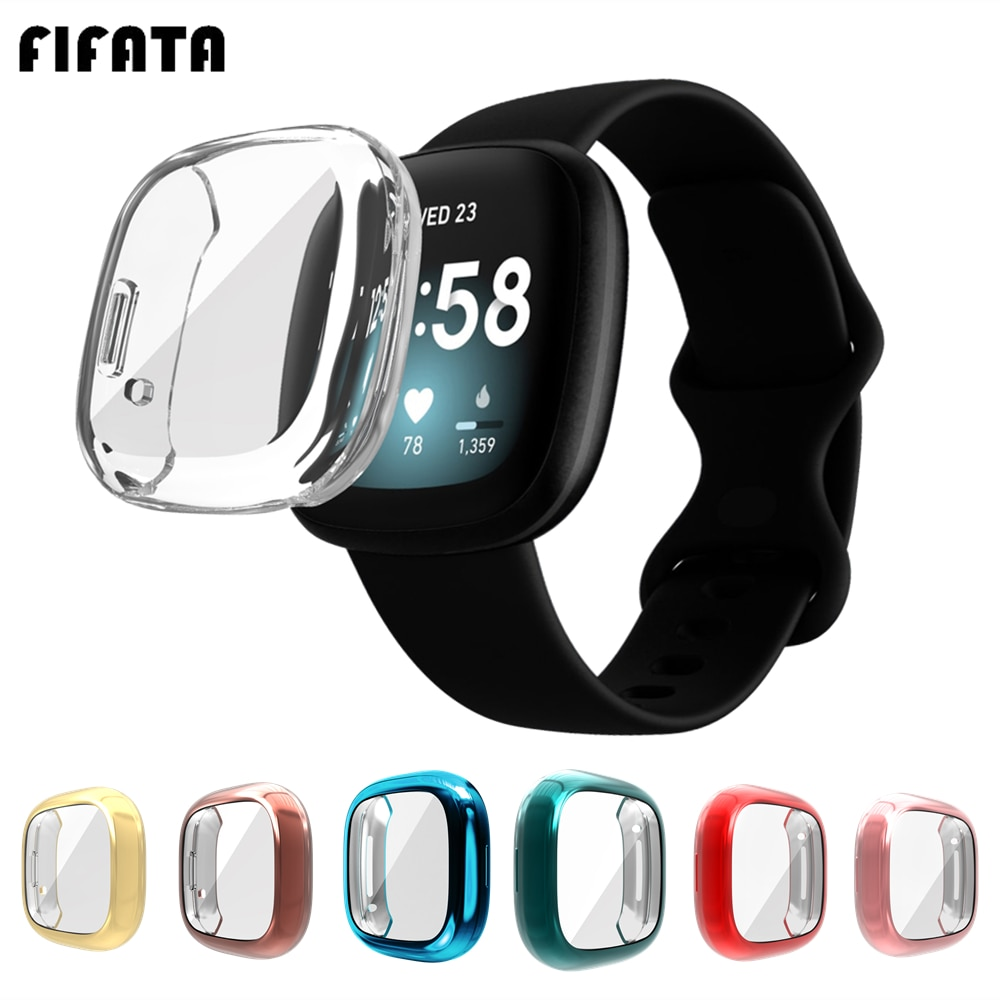 FIFATA TPU Full Screen Protector Cover Case For Fitbit Versa 3 / Sense Smart Watch Bumper Shell Cases For Fitbit Versa3/Sense