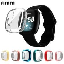 FIFATA TPU Full Screen Protector Cover Case For Fitbit Versa 3 / Sense Smart Watch Bumper Shell Case
