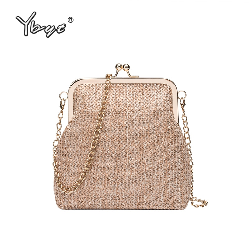 YBYT moda straw crossbody bolsas para mujeres 2019 simple casual cadena señoras bolso de hombro bolsos tejido sólido mujeres shell bolsas