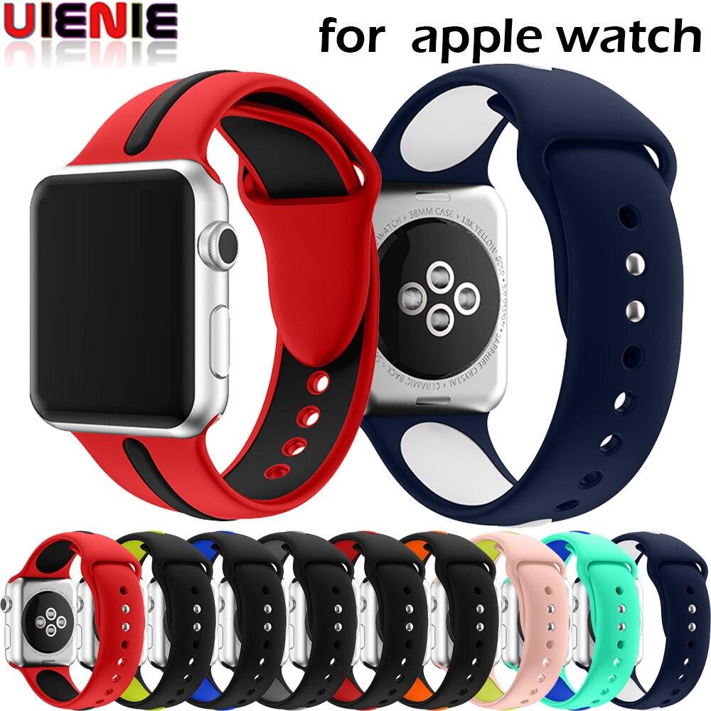 Correa de alta calidad 42mm 38mm 40mm 44mm para iwatch sports link pulsera para Apple Watch series de silicona 4 y 3 y 2 y 1 cinturón