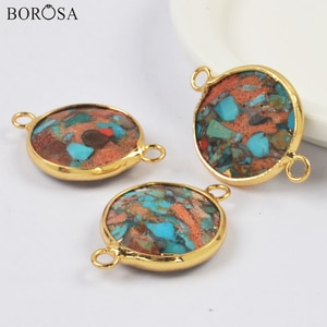 BOROSA Gold Plating Round Natural Coral Turquoises Connectors Gems Necklace Natural Stone Beads for Bracelets Jewelry DIY G2008