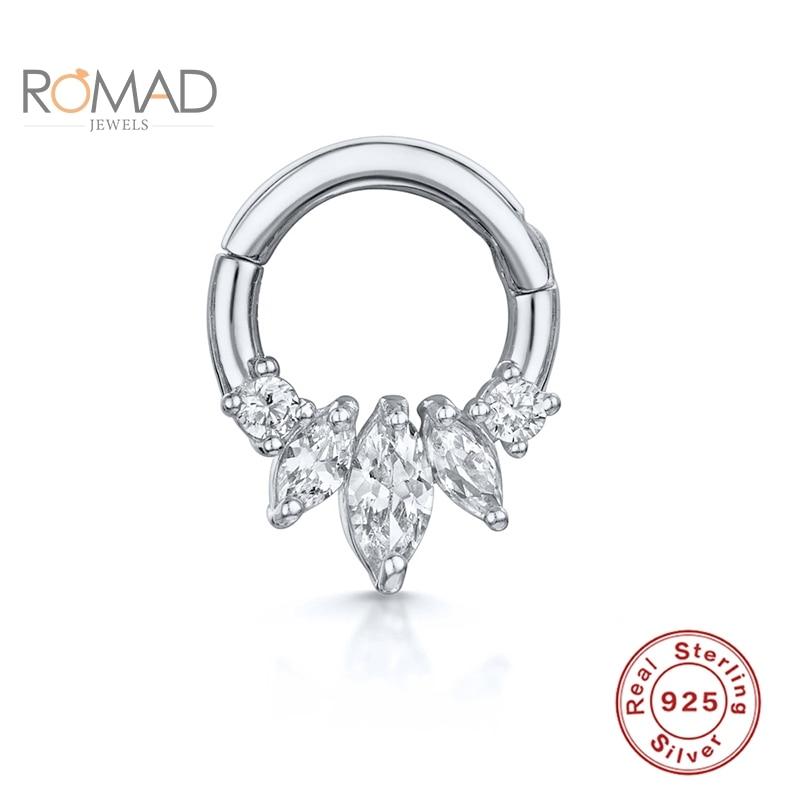 ROMAD Real 925 Sterling Silver Earrings For Women Round Diamond Piercing Cartilage Stud Zircon kolczyki Damskie