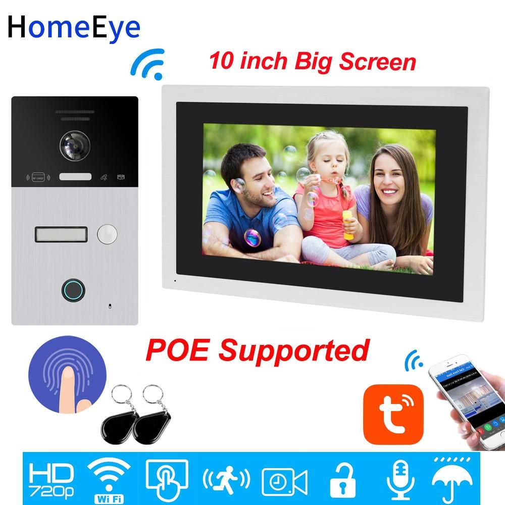 10inch WiFi Video Intercom IP Video Door Phone TuyaSmart App Remote Unlock Code Keypad+RFID Card+Fingerprint Home Access Control