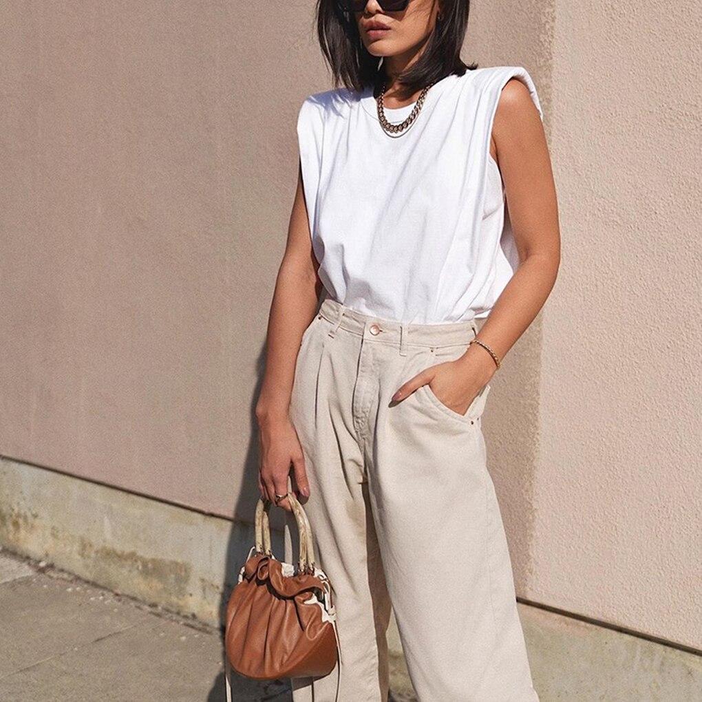 Primavera Verano mujer Streetwear Tank Tops blanco suelto sin mangas Top mujeres O cuello Casual Basic Sport chaleco Tops
