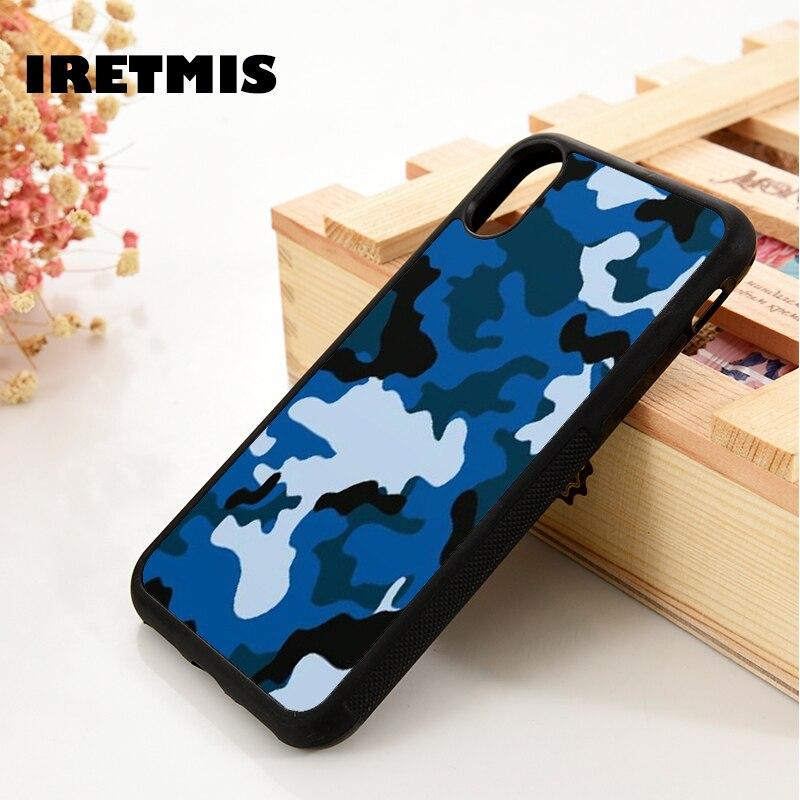Iretmis 5 5S SE 6 6S funda suave para iPhone 7 8 plus X Xs 11 Pro Max XR azul mezclado blanco negro Ejército Soldado de guerra camuflaje