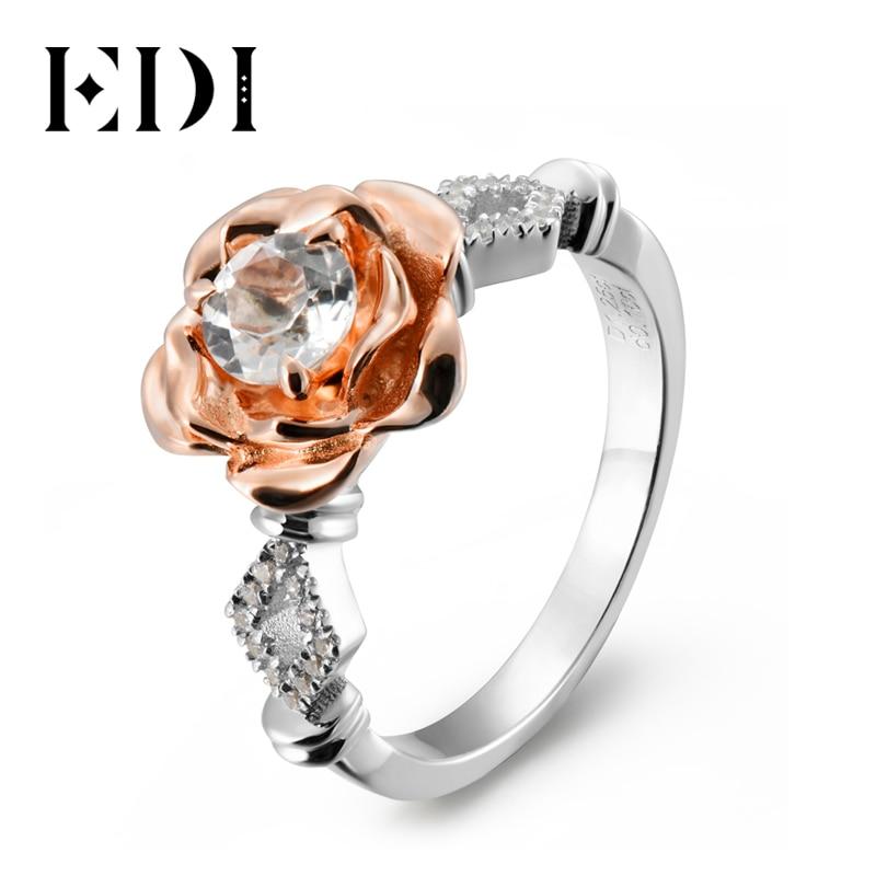 Anillo de piedras preciosas de topacio blanco Natural EDI de 5mm, anillo de compromiso de Plata de Ley 925 para mujeres, bandas de rosas y flores, joyería fina