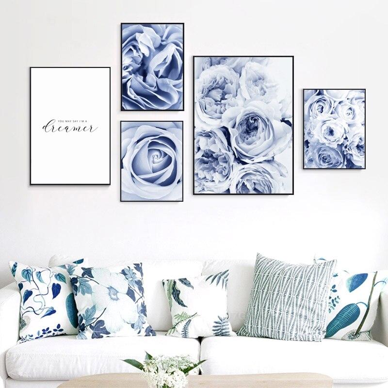 Cuadros de arte de pared de primer plano de rosa azul elegante de estilo nórdico Póster con impresión estilo cuadro para salón sala de estar Decoración