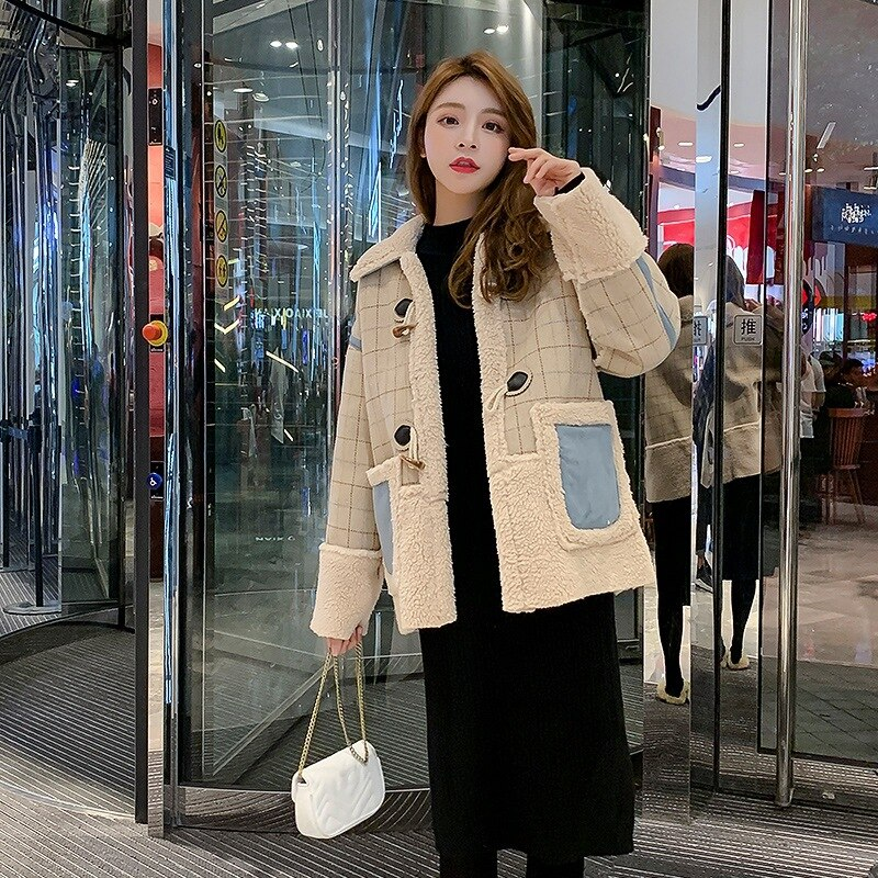 Winter 2020 new loose Korean lamb wool cotton jacket, collage cropped jacket