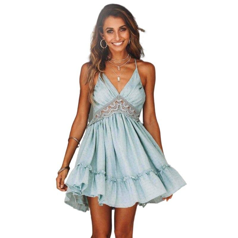 Women Dresses New 2021 Summer Lace Sexy Club Spaghetti Strap Backless Party Dress Elegant Bohemian Beach Sundress