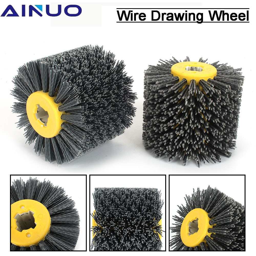 Deburring Abrasive Wire Drawing Round Brush Head Polishing Grinding Wheel For Furniture Wood Sculpture 100mm*120mm