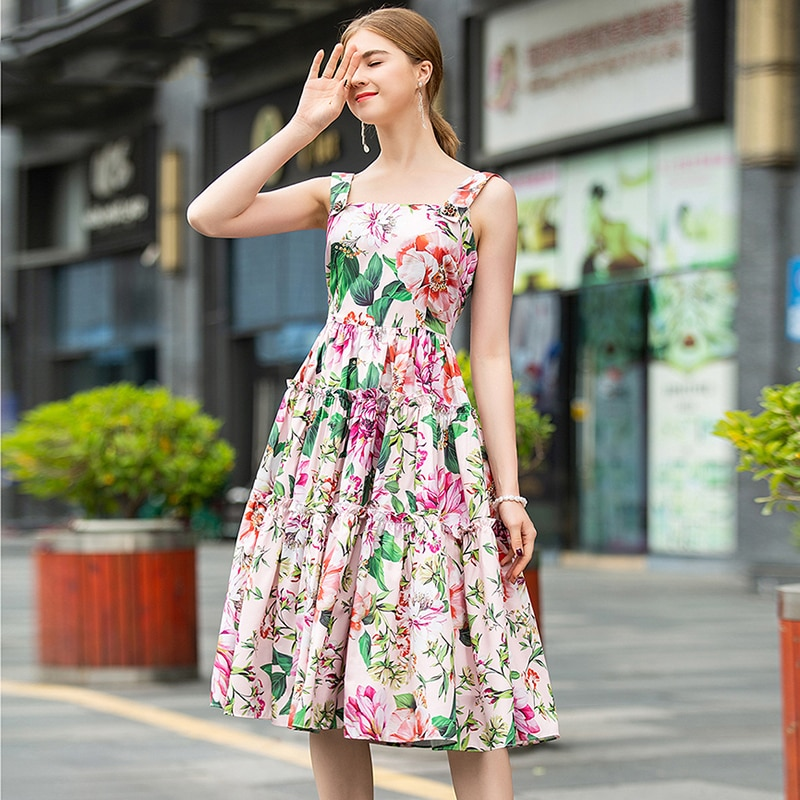 2020 Summer Runway Dress Female Cute Flower Printed Ruffles Spaghetti Strap Dress Womens Resort Party Vestidos