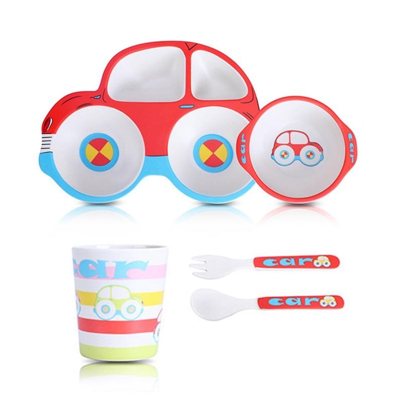 Bamboo Dinner Set, 5 Piece Kids Dinner Set, Bamboo Fiber Dinnerware Set - Eco Friendly, BPA Free and Dishwasher Safe - Car Desig