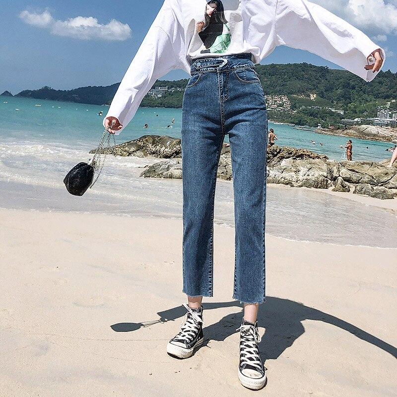 2020 Spring Jeans Loose Harem Women's Jeans Female Women High Waist Denim Pants Trousers Boyfriend Jeans for mom jeans blue