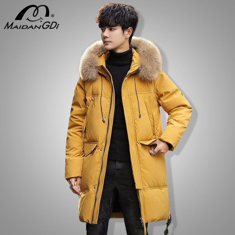 MAIDANGDI Winter Hot Sale Men's Down Jacket Male's Solid Color  Outwear Teenager Windproof Warm Hooded Long Section Clothing