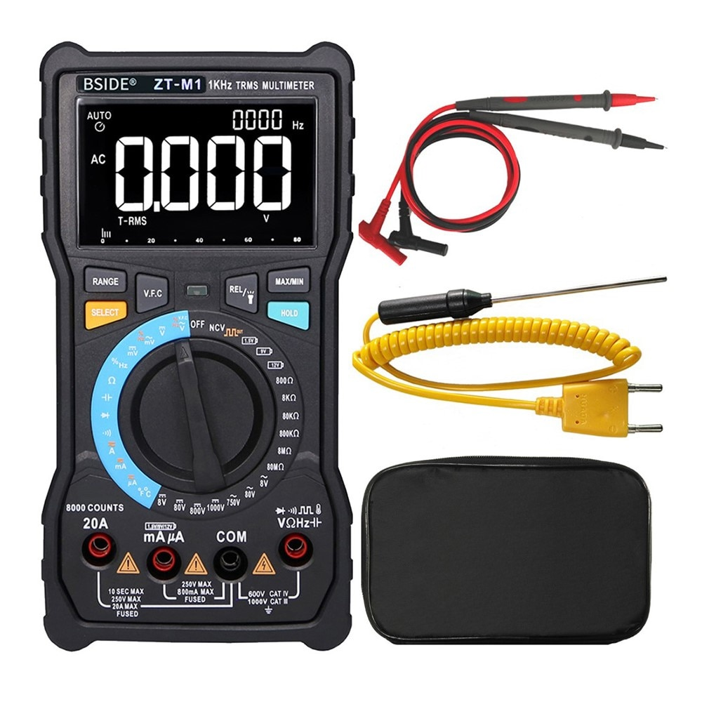 BSIDE Digital Multimeter Automatic/Manual Dual Mode High Resolution Large Screen 3 Line Display DC/AC Current Voltage Test