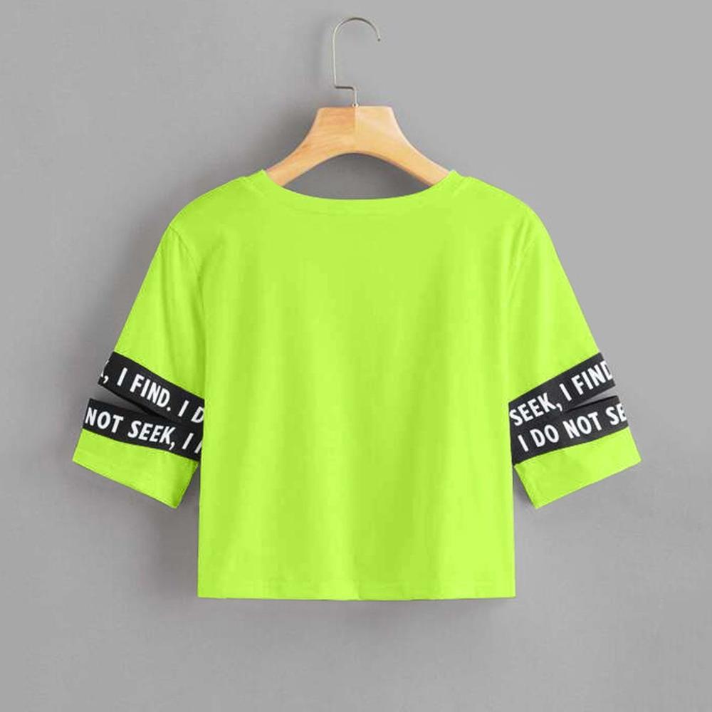 Camiseta de mujer Casual cuello redondo de manga corta Soild Latter vendaje corto Sexy camisetas verano mujer 2020 T @