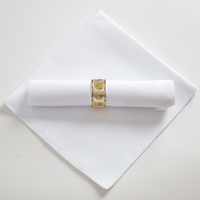 Guardanapo de mesa de casamento branco liso, guardanapos têxteis reciclados, guardanapo, poliéster, amigável, 48cm quadrado