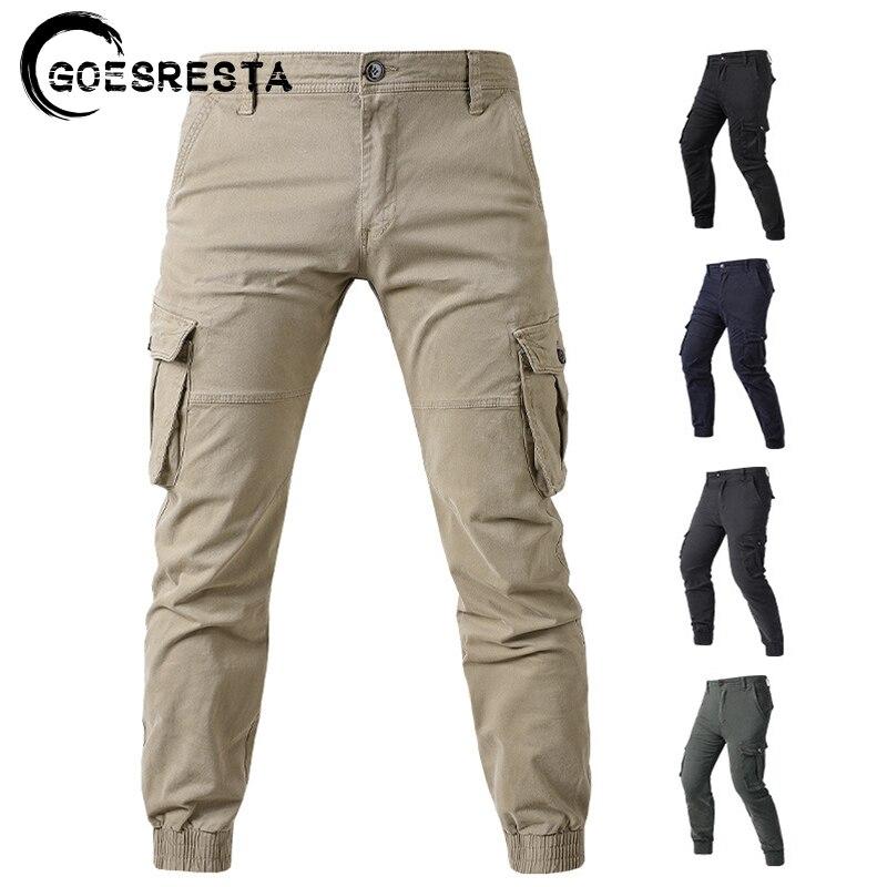 Брюки-карго мужские однотонные, модные повседневные штаны, брендовые удобные тактические Хлопковые Штаны в стиле милитари, 2021